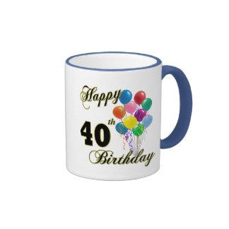Happy 40th Birthday Gifts and Birthday Apparel Ringer Coffee Mug