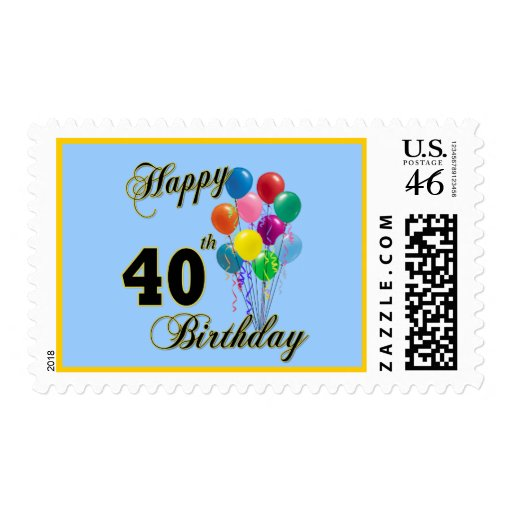 Happy 40th Birthday Gifts and Birthday Apparel Postage