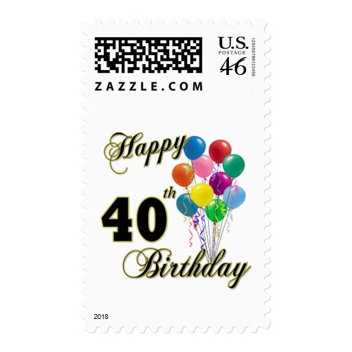 Happy 40th Birthday Gifts and Birthday Apparel Postage Stamp