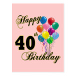 Happy 40th Birthday Gifts and Birthday Apparel Post Card