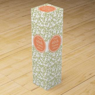 Happy 40th Birthday Green and Orange Fine Wine Wine Gift Box