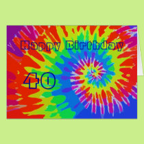 Happy 40th Birthday Groovy Tie-Dye Card