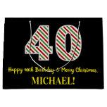 [ Thumbnail: Happy 40th Birthday & Merry Christmas, Custom Name Gift Bag ]