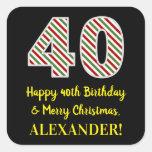 [ Thumbnail: Happy 40th Birthday & Merry Christmas, Custom Name Sticker ]