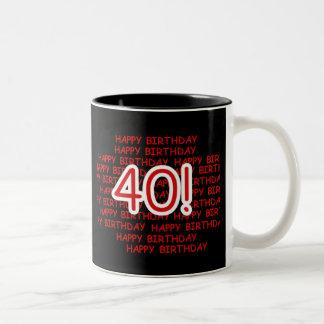 Happy 40th Birthday Two-Tone Coffee Mug