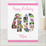 """Happy 40th Birthday Number 40 Photo Collage Large Card<br><div class=""""desc"""">Say Happy 40th Birthday Mom with a unique birthday card and your own custom photo collage. This birthday card for mom has feminine script typography in pink and simply styling in order to focus on your pictures in the number 40. The template is set up for you to edit Happy...</div>"""