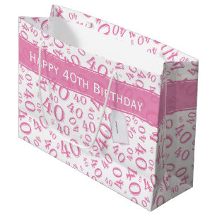 Happy 40th Birthday Party Pattern Pink And White Large Gift Bag