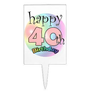 Happy 40th Birthday (pink) Cake Topper
