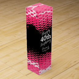 Happy 40th Birthday pink girlie wine box