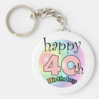 Happy 40th Birthday (pink) Keychain