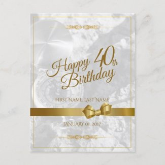Happy 40th birthday with golden bow holiday postcard