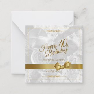 Happy 40th birthday with golden bow note card