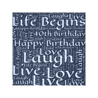 Happy 40th Birthday Word Art Graphic Canvas Print