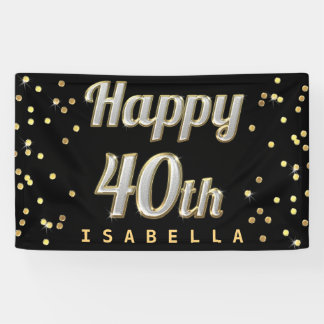 Happy 40th Bling Typography Gold Confetti Black Banner