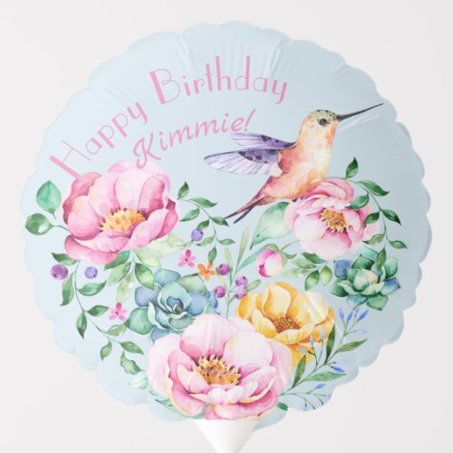 Happy 40th Hummingbird Floral Birthday Balloon.Gorgeous hummingbird floral watercolor painting presents the best wishes for turning forty! Or whatever age: 10 years old to 100. Pretty, girly, and adorable, just like the birthday girl.