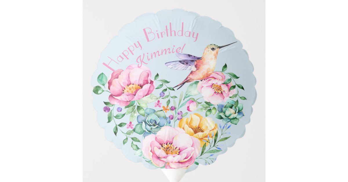 Happy 40th Hummingbird Floral Birthday Balloon | Zazzle com