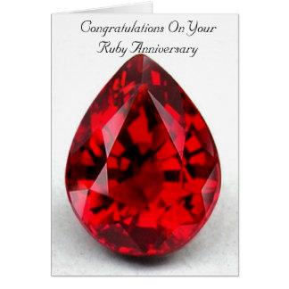 Happy 40th Wedding Anniversary Card Ruby