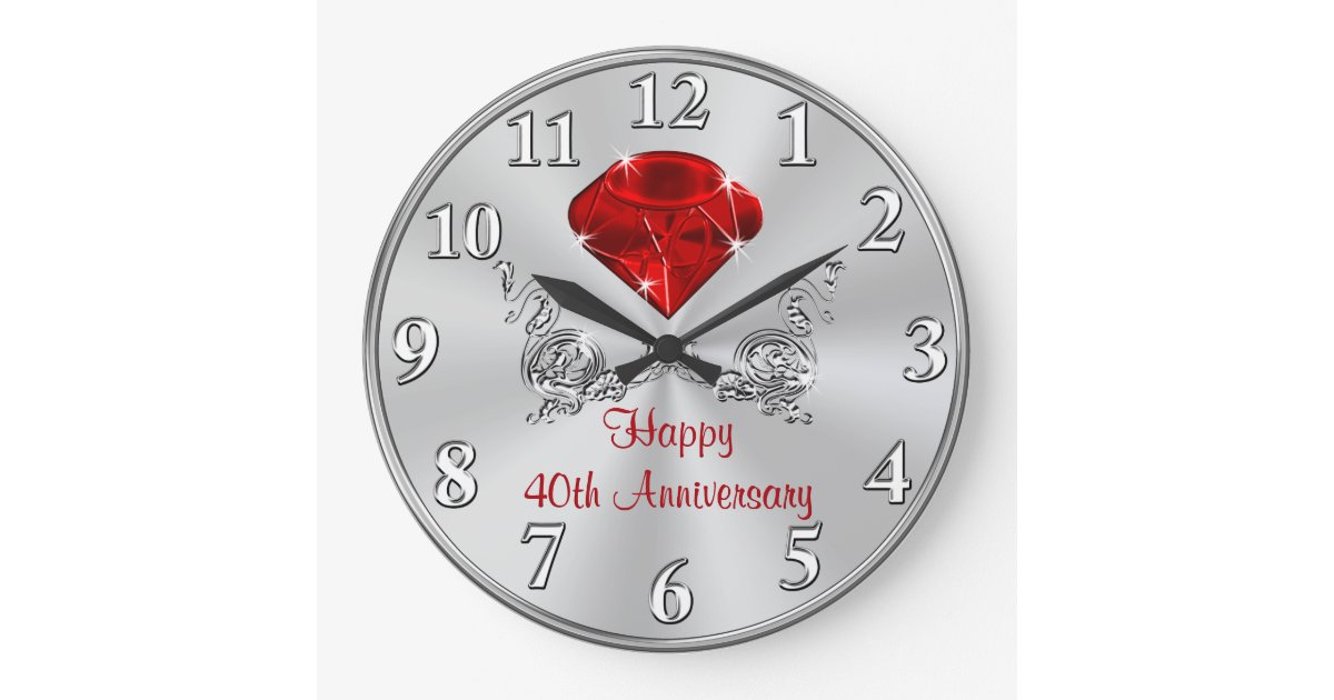 Wedding Gift Clock: Happy 40th Wedding Anniversary Gifts CLOCK