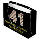 [ Thumbnail: Happy 41st Birthday & Merry Christmas, Custom Name Gift Bag ]