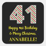 [ Thumbnail: Happy 41st Birthday & Merry Christmas, Custom Name Sticker ]
