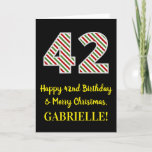 [ Thumbnail: Happy 42nd Birthday & Merry Christmas, Custom Name Card ]