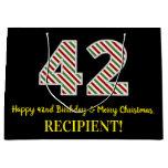 [ Thumbnail: Happy 42nd Birthday & Merry Christmas, Custom Name Gift Bag ]