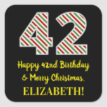 [ Thumbnail: Happy 42nd Birthday & Merry Christmas, Custom Name Sticker ]