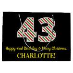[ Thumbnail: Happy 43rd Birthday & Merry Christmas, Custom Name Gift Bag ]