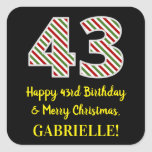 [ Thumbnail: Happy 43rd Birthday & Merry Christmas, Custom Name Sticker ]