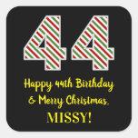 [ Thumbnail: Happy 44th Birthday & Merry Christmas, Custom Name Sticker ]