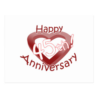 """Happy 45th Anniversary"" Heart design Postcard"