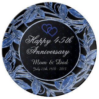 Happy 45th Anniversary Sapphire Metallic Leaves Plate
