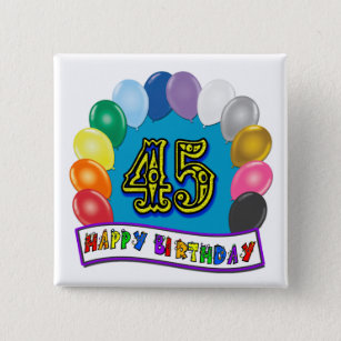 Happy 45th Birthday Balloon Arch Button