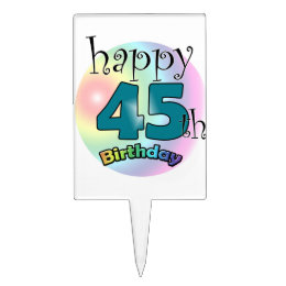 Happy 45th Birthday (blue) Cake Topper