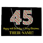 [ Thumbnail: Happy 45th Birthday & Merry Christmas, Custom Name Gift Bag ]