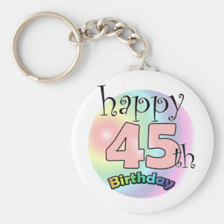 Happy 45th Birthday (pink) Keychain