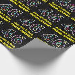 [ Thumbnail: Happy 46th Birthday, Fun Colorful Stars Pattern 46 Wrapping Paper ]