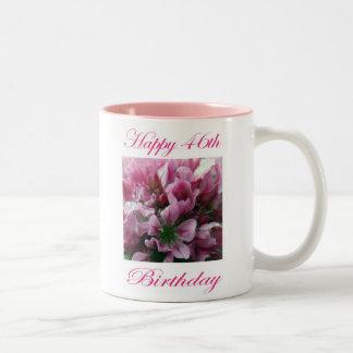 Happy 46th Birthday Pink and Green Flower Two-Tone Coffee Mug