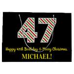 [ Thumbnail: Happy 47th Birthday & Merry Christmas, Custom Name Gift Bag ]