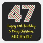 [ Thumbnail: Happy 47th Birthday & Merry Christmas, Custom Name Sticker ]
