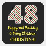 [ Thumbnail: Happy 48th Birthday & Merry Christmas, Custom Name Sticker ]