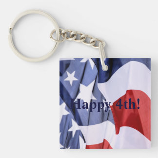 Happy 4th American Flag Square 1-Sided Keychains