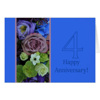 Happy 4th Anniversary roses Card