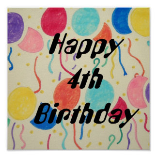 Happy 4th Birthday Balloons And Streamers Print