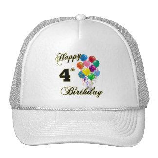 Happy 4th Birthday Baseball Caps and Hats