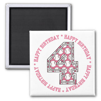 Happy 4th Birthday Baseball Number 2 Inch Square Magnet