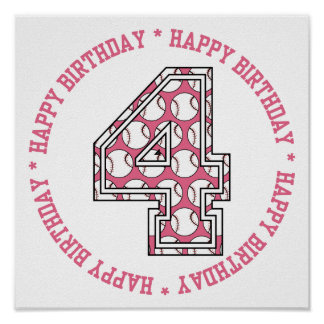 Happy 4th Birthday Baseball Number Poster