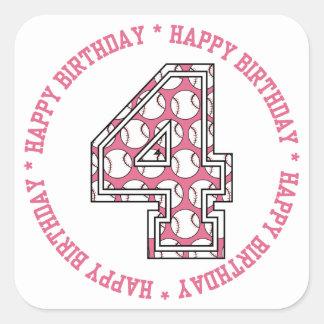 Happy 4th Birthday Baseball Number Square Sticker