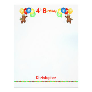 Happy 4th Birthday Bear Scrapbook Paper 2