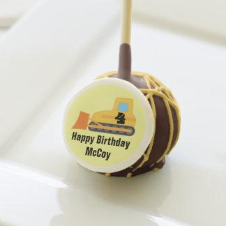 Happy 4th Birthday Bulldozer Construction Cake Pops